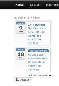 agenda des événements Tennis Ambarès
